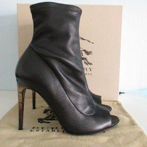 Burberry Black Leather Peep Toe Ankle Boots Sz 7
